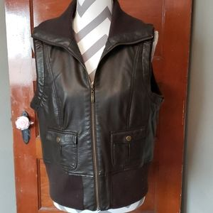 Tribal Faux Brown Leather Vest Size 10